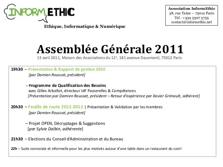 Association InformEthic<br />38, rue Taine – 75012 Paris<br />Tel : +339 5307 5755<br />contact@informethic.net<br />Ethiq...