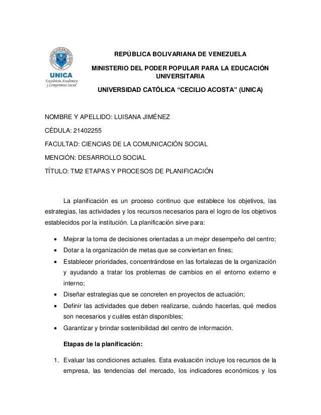 """REPÚBLICA BOLIVARIANA DE VENEZUELA MINISTERIO DEL PODER POPULAR PARA LA EDUCACIÓN UNIVERSITARIA UNIVERSIDAD CATÓLICA """"CECI..."""