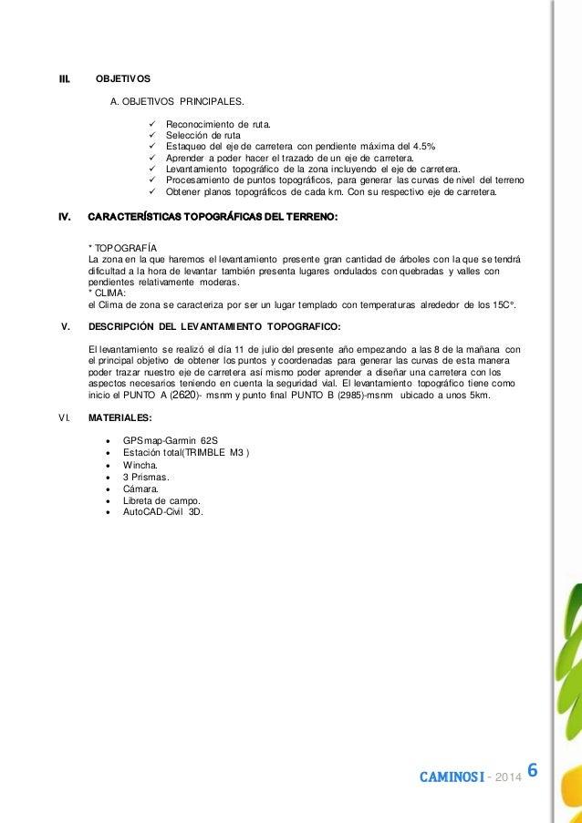 Informe Trabajo Levantamiento Topografico Caminos I