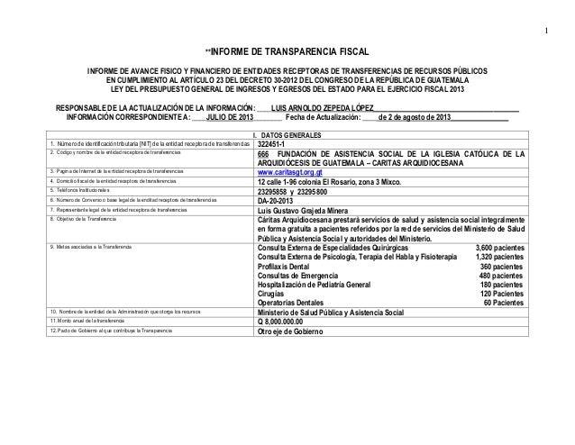 1 **INFORME DE TRANSPARENCIA FISCAL INFORME DE AVANCE FISICO Y FINANCIERO DE ENTIDADES RECEPTORAS DE TRANSFERENCIAS DE REC...