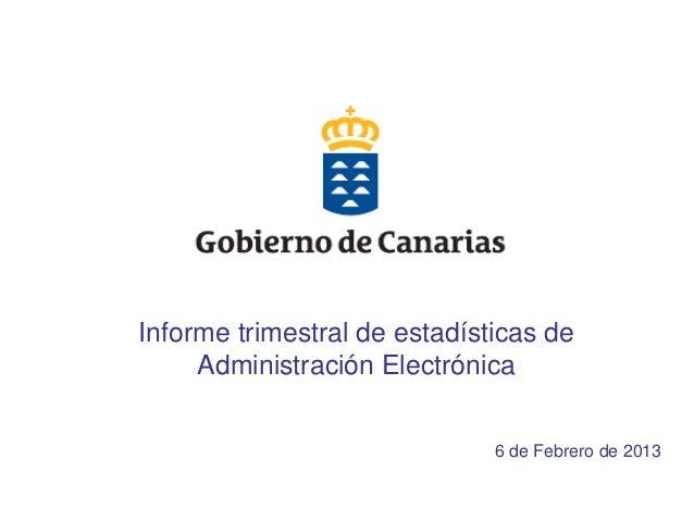 Informe trimestral de estadísticas de     Administración Electrónica                              6 de Febrero de 2013    ...