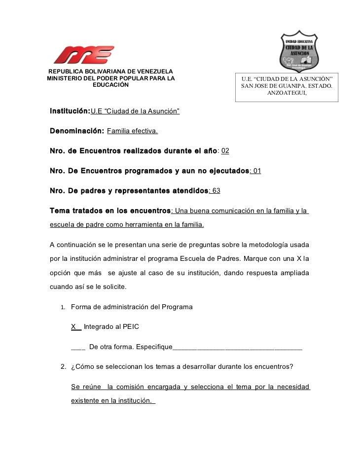 """REPUBLICA BOLIVARIANA DE VENEZUELAMINISTERIO DEL PODER POPULAR PARA LA                       U.E. """"CIUDAD DE LA ASUNCIÓN"""" ..."""