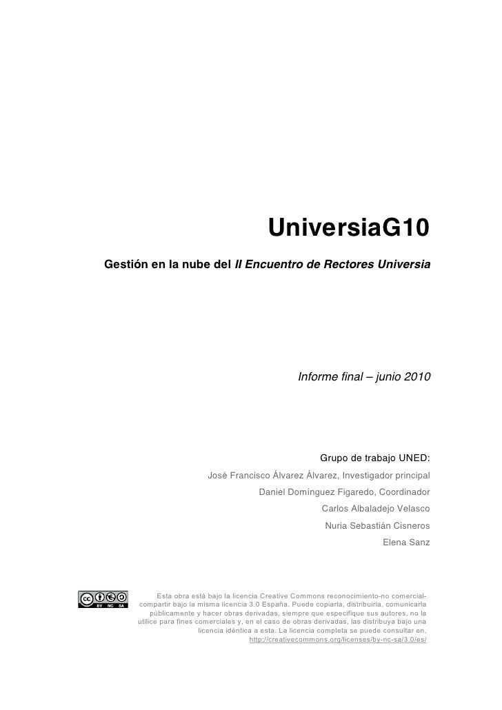 UniversiaG10 Gestión en la nube del II Encuentro de Rectores Universia                                                    ...