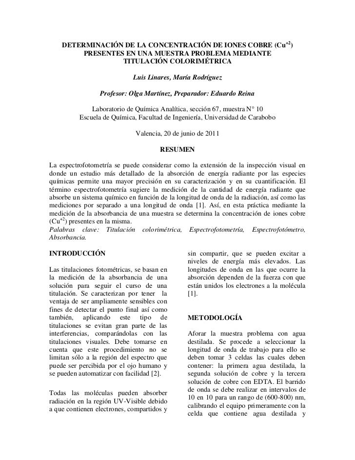 Determinación de la concentración de IONES COBRE (Cu+2) PRESENTES EN UNA MUESTRA PROBLEMA MEDIANTE <br />TITULACIÓN COLORI...