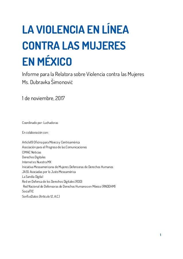 LA VIOLENCIA EN LÍNEA CONTRA LAS MUJERES EN MÉXICO