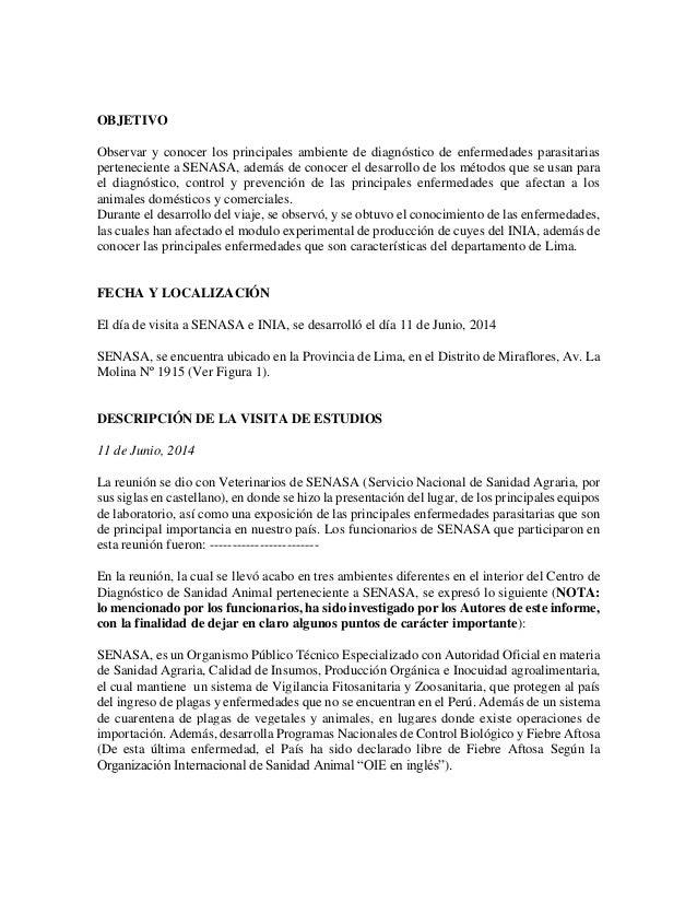 Informe visita SENASA - INIA Slide 3