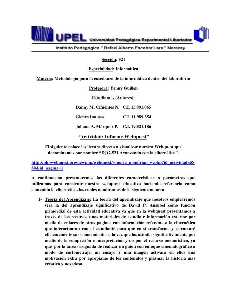 Sección: 521                             Especialidad: Informática  Materia: Metodología para la enseñanza de la informáti...