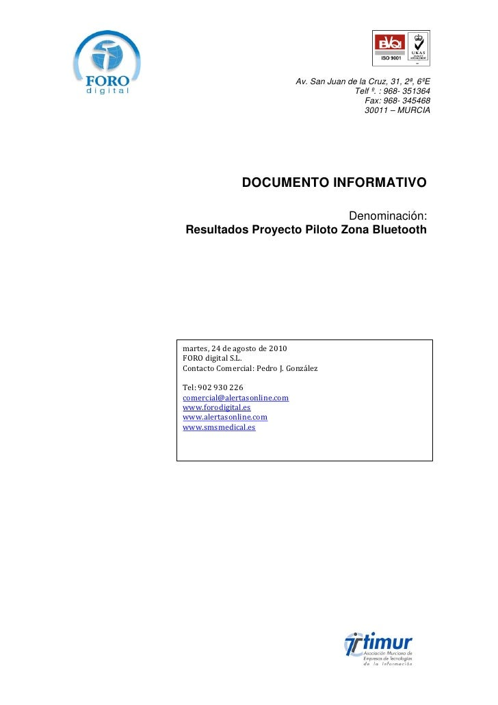 Informe zona bluetooth
