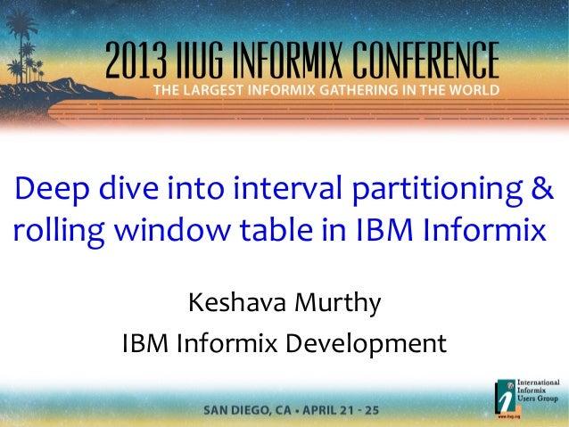 Deep dive into interval partitioning &rolling window table in IBM InformixKeshava MurthyIBM Informix Development