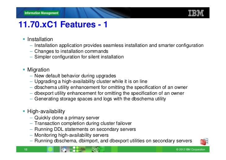 informix update new features 1170xc1 - Dbschema Informix