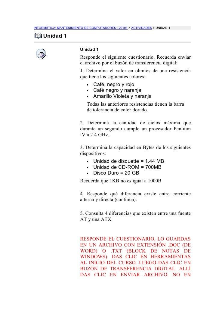 INFORMÁTICA: MANTENIMIENTO DE COMPUTADORES - 22101 > ACTIVIDADES > UNIDAD 1       Unidad 1                           Unida...