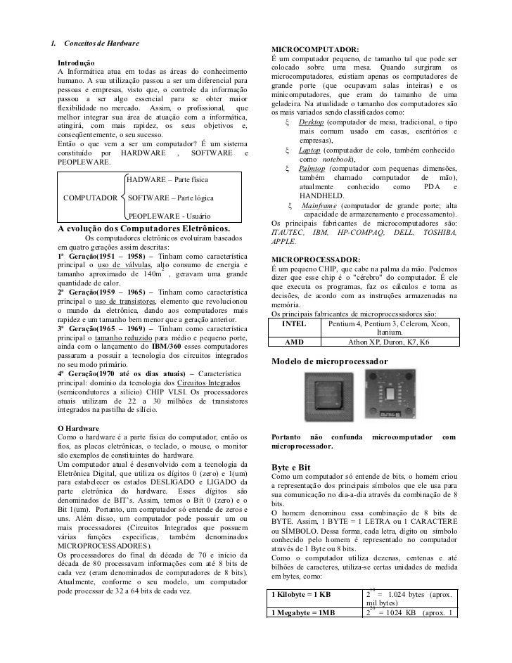 1. Conceitos de Hardware                                                               MICROCOMPUTADOR:                   ...