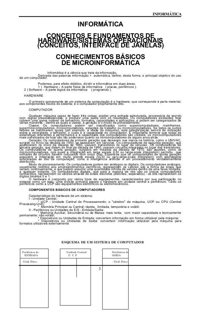 INFORMÁTICA INFORMÁTICA CONCEITOS E FUNDAMENTOS DE HARDWARE/SISTEMAS OPERACIONAIS (CONCEITOS, INTERFACE DE JANELAS) CONHEC...