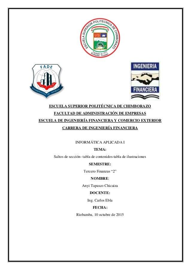 ESCUELA SUPERIOR POLITÉCNICA DE CHIMBORAZO FACULTAD DE ADMINISTRACIÓN DE EMPRESAS ESCUELA DE INGENIERÍA FINANCIERA Y COMER...