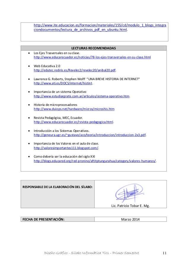 Diseño Gráfico - Silabo Informática Tics – Primer Semestre 11 http://www.ite.educacion.es/formacion/materiales/155/cd/modu...