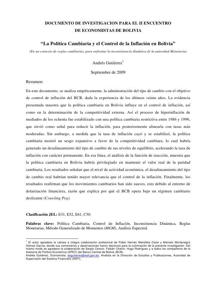 """DOCUMENTO DE INVESTIGACION PARA EL II ENCUENTRO                                    DE ECONOMISTAS DE BOLIVIA           """"La..."""