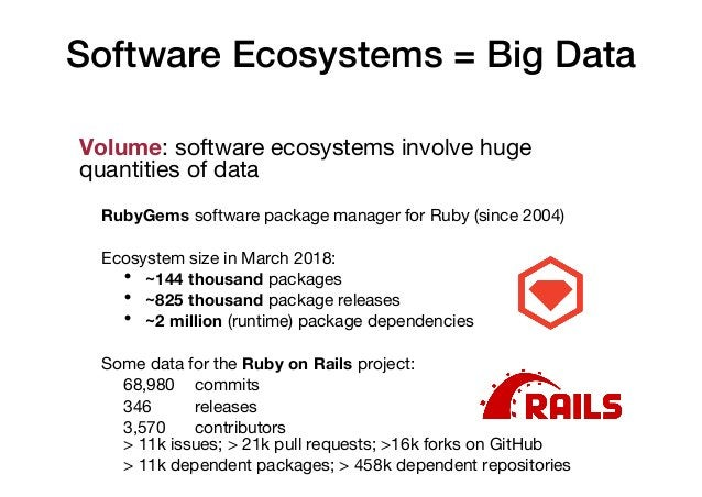 Software Ecosystems = Big Data Volume: software ecosystems involve huge quantities of data RubyGems software package manag...