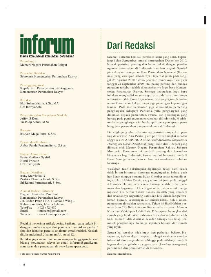 Undang-Undang Nomor 1 Tahun 2011 tentang Perumahan dan Kawasan Permukiman. Majalah Perumahan dan Kawasan Permukiman 'INFORUM'  Edisi 3 Tahun 2010 Slide 2