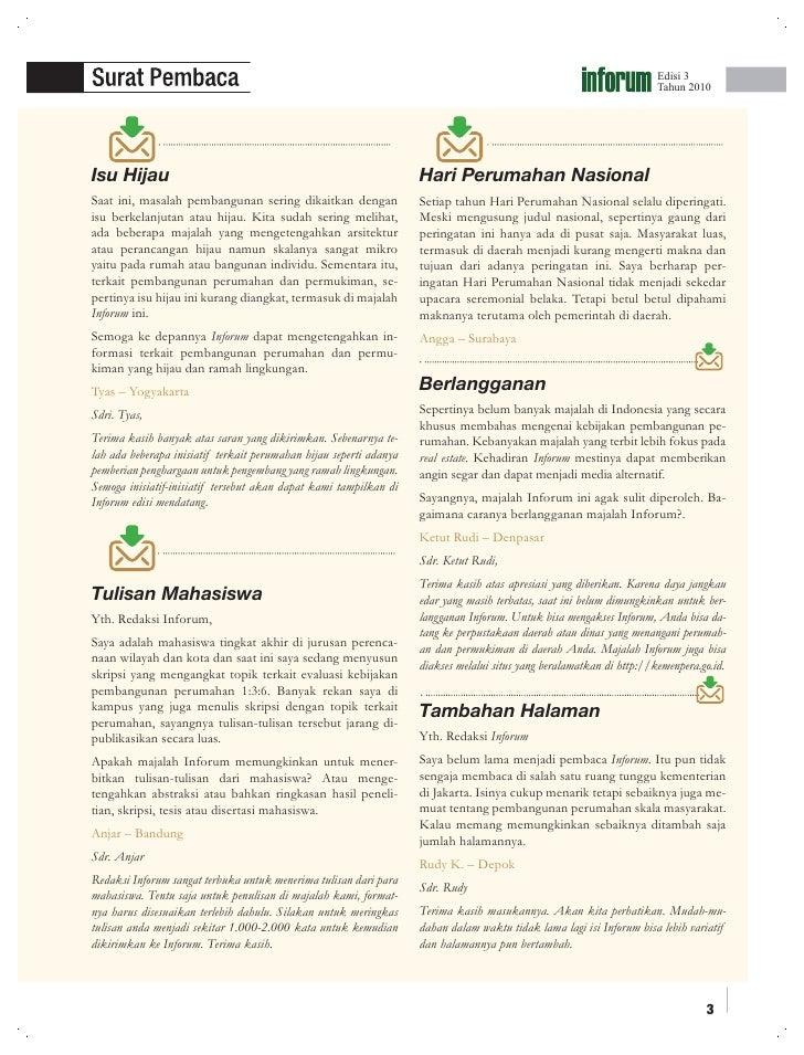 Undang-Undang Nomor 1 Tahun 2011 tentang Perumahan dan Kawasan Permukiman. Majalah Perumahan dan Kawasan Permukiman 'INFORUM'  Edisi 3 Tahun 2010 Slide 3