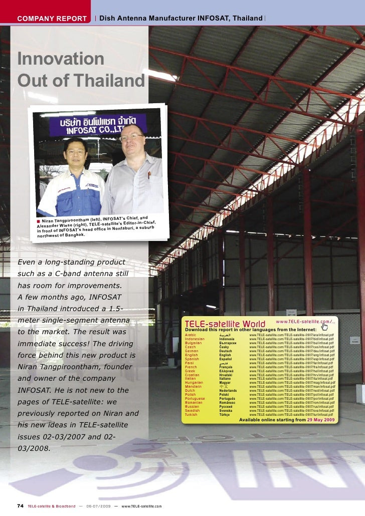 COMPANY REPORT                        Dish Antenna Manufacturer INFOSAT, Thailand     Innovation Out of Thailand          ...