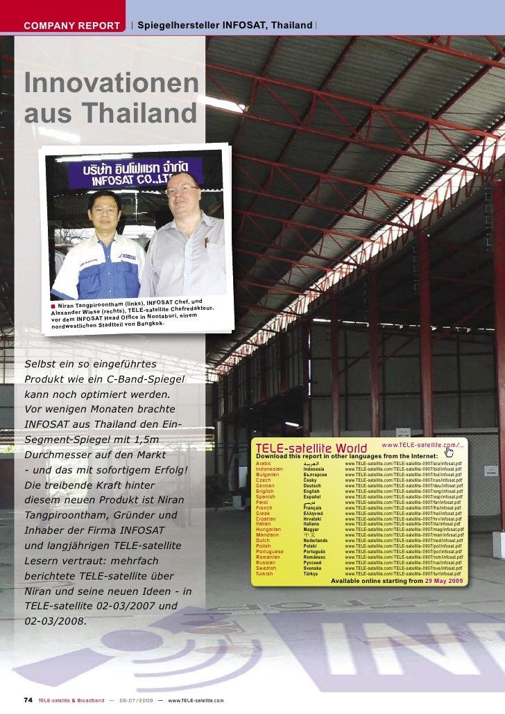 COMPANY REPORT                        Spiegelhersteller INFOSAT, Thailand     Innovationen aus Thailand                   ...