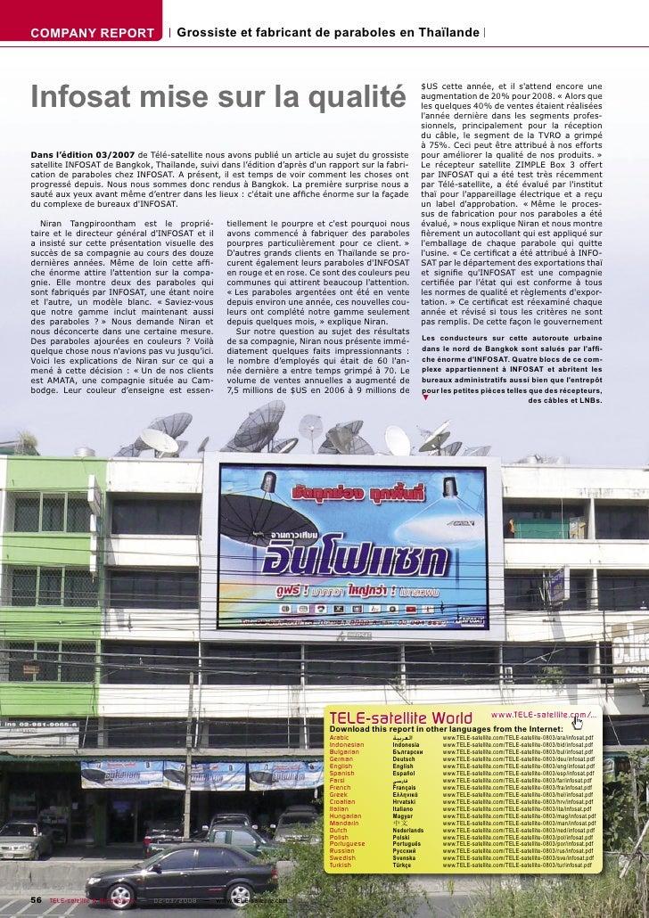 COMPANY REPORT                        Grossiste et fabricant de paraboles en Thaïlande     Infosat mise sur la qualité    ...