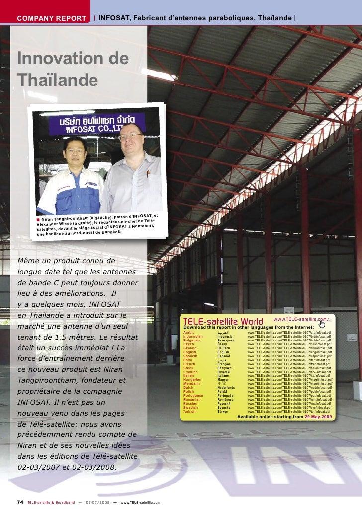 COMPANY REPORT                         INFOSAT, Fabricant d'antennes paraboliques, Thaïlande     Innovation de Thaïlande  ...