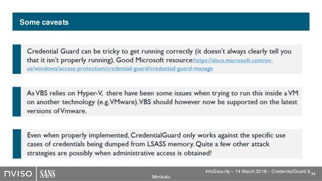 Windows 10 CredentialGuard vs Mimikatz - SEC599