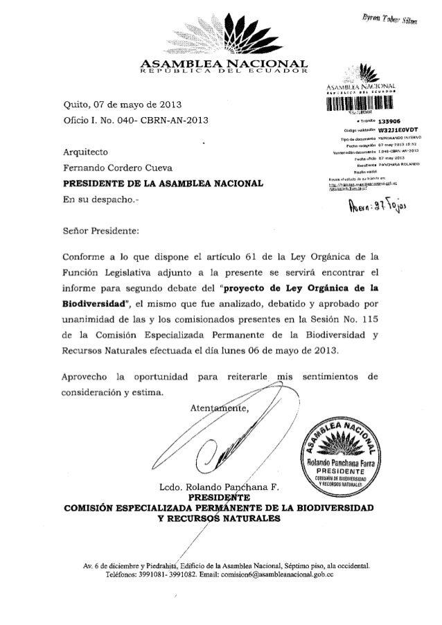 """ASAMBLEA NACIONALR E P O e l.. I C A O """"B L, E C U A D O RQuito, 07 de mayo de 2013Oficio I. No. 040- CBRN-AN-2013Arquitec..."""