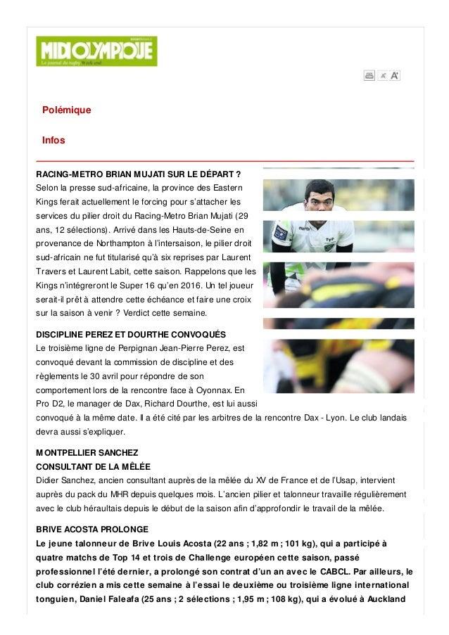 Polémique Infos RACING-METRO BRIAN MUJATI SUR LE DÉPART ? Selon la presse sud-africaine, la province des Eastern Kings fer...