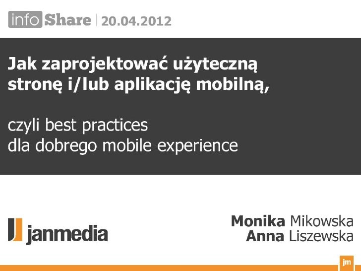 Jak zaprojektować użyteczną aplikację/stronę mobilną