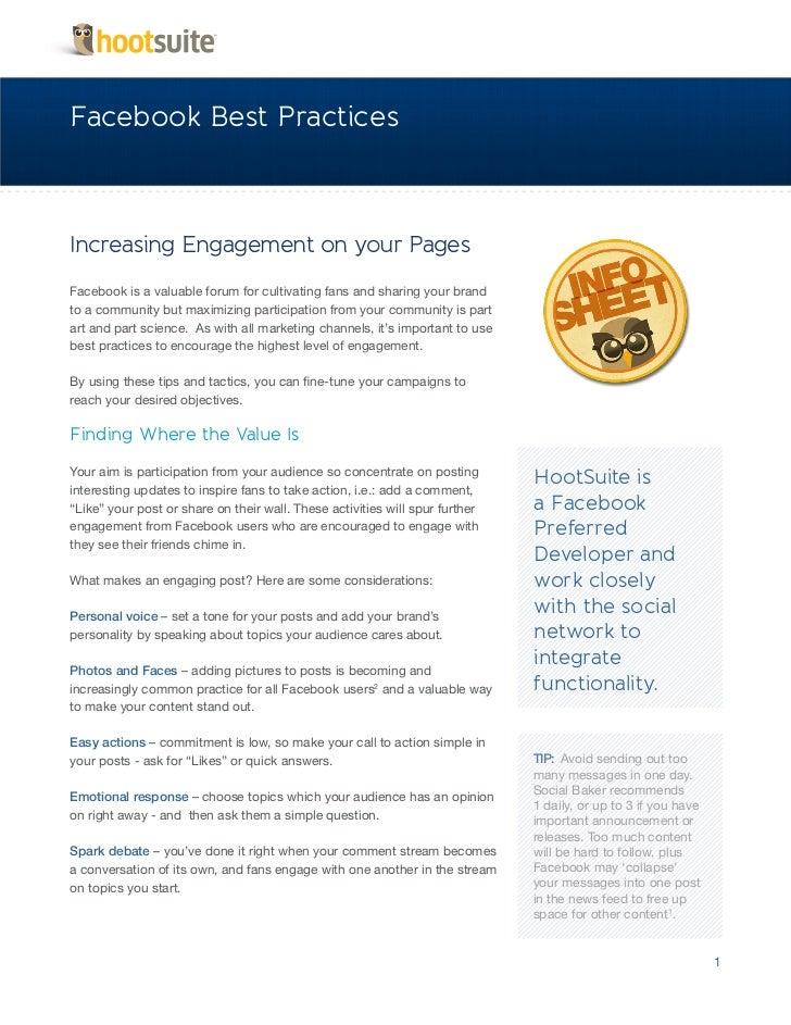 A HootSuite Infosheet - Facebook Best Practices