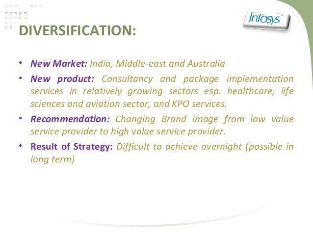 DIVERSIFICATION:• New Market: India, Middle-east and Australia• New product: Consultancy and package implementationservice...