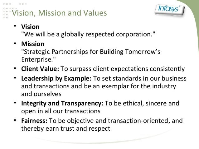 """Vision, Mission and Values• Vision""""We will be a globally respected corporation.""""• Mission""""Strategic Partnerships for Build..."""