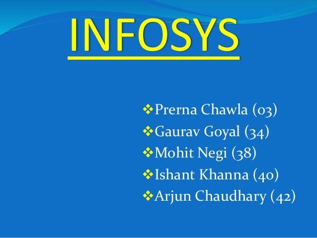 INFOSYS Prerna Chawla (03) Gaurav Goyal (34) Mohit Negi (38) Ishant Khanna (40) Arjun Chaudhary (42)