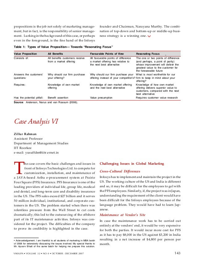 infosys case analysis These requirements add pressure and visibility to financial planning and analysis  (fp&a) this case study explains how infosys, an it.