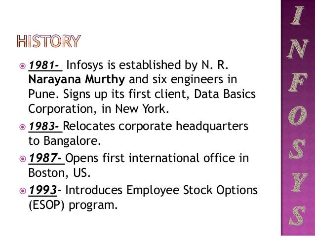  1981- Infosys is established by N. R. Narayana Murthy and six engineers in Pune. Signs up its first client, Data Basics ...