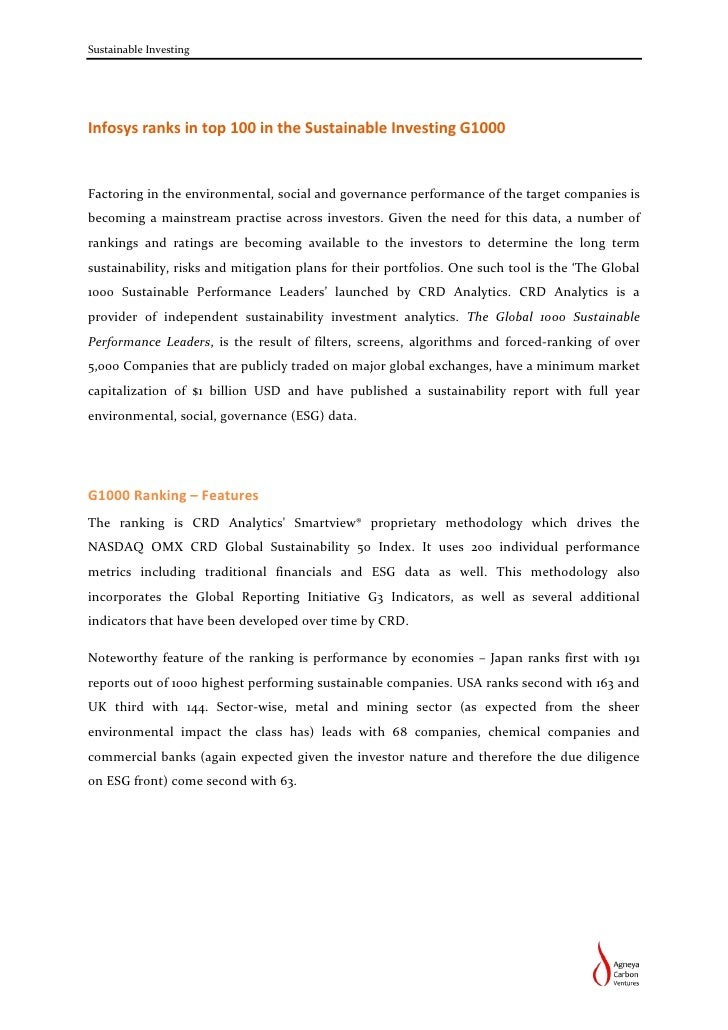Sustainable InvestingInfosys ranks in top 100 in the Sustainable Investing G1000Factoring in the environmental, social and...