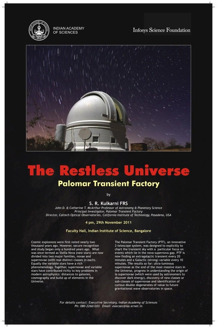 Public Lecture: The Restless Universe: Palomar Transient Factory