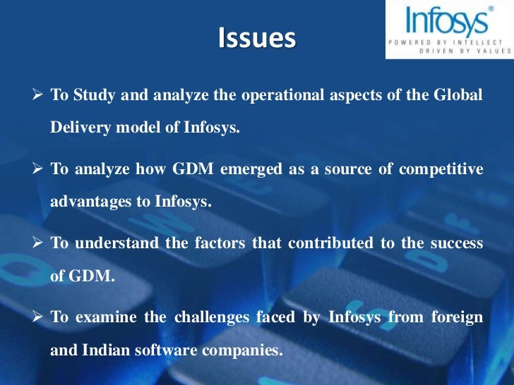 global delivery model at infosys Summary:cio 100 winner: the company's computers and communication division (ccd) adopted the global delivery model and initiated an agile it project it turned the core of the global delivery model into an agile and collaborative platformhighlights: with the iso 20k initiative, all services were redefined from the end-user perspective and also service and process ownership were put in place.