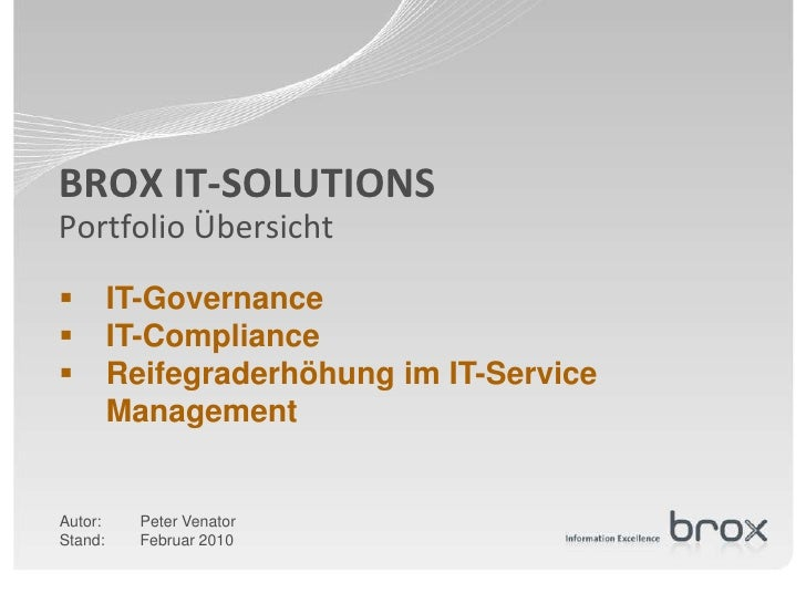 BROX IT-SOLUTIONS Portfolio Übersicht         IT-Governance         IT-Compliance         Reifegraderhöhung im IT-Servi...