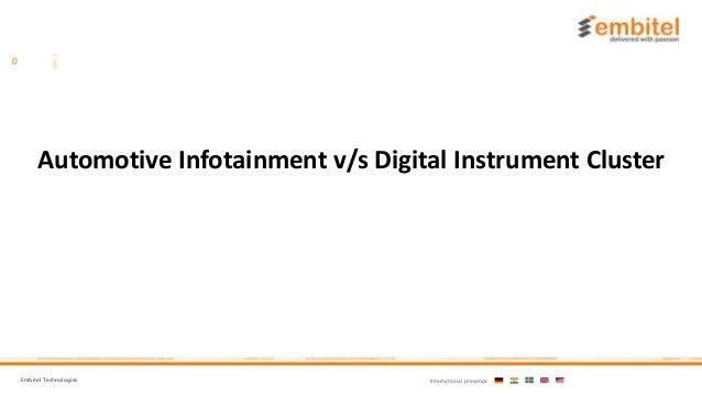 Embitel Technologies International presence: Automotive Infotainment v/s Digital Instrument Cluster