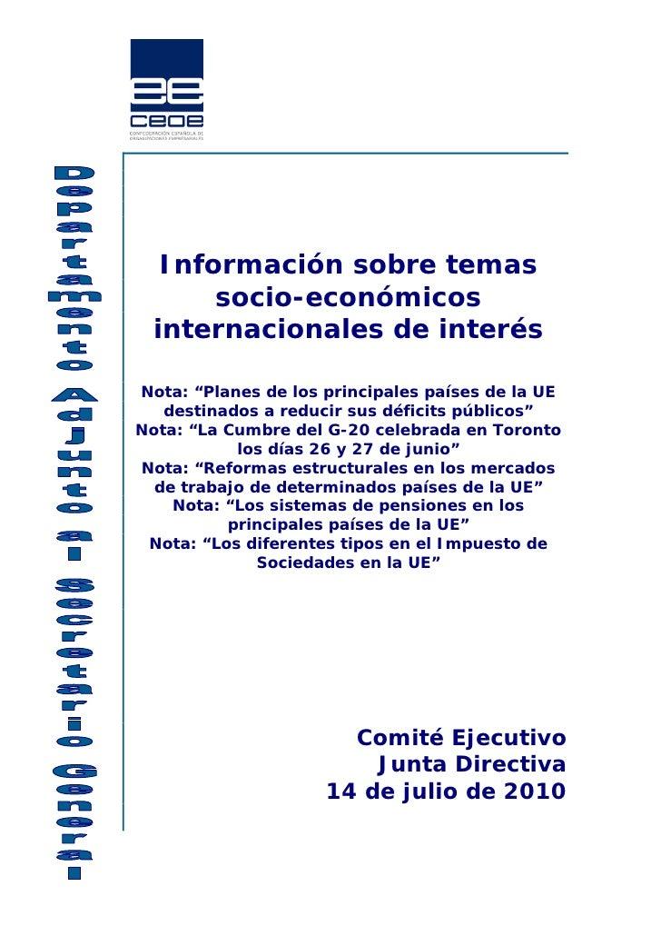 """Información sobre temas       socio-económicos  internacionales de interésNota: """"Planes de los principales países de la UE..."""