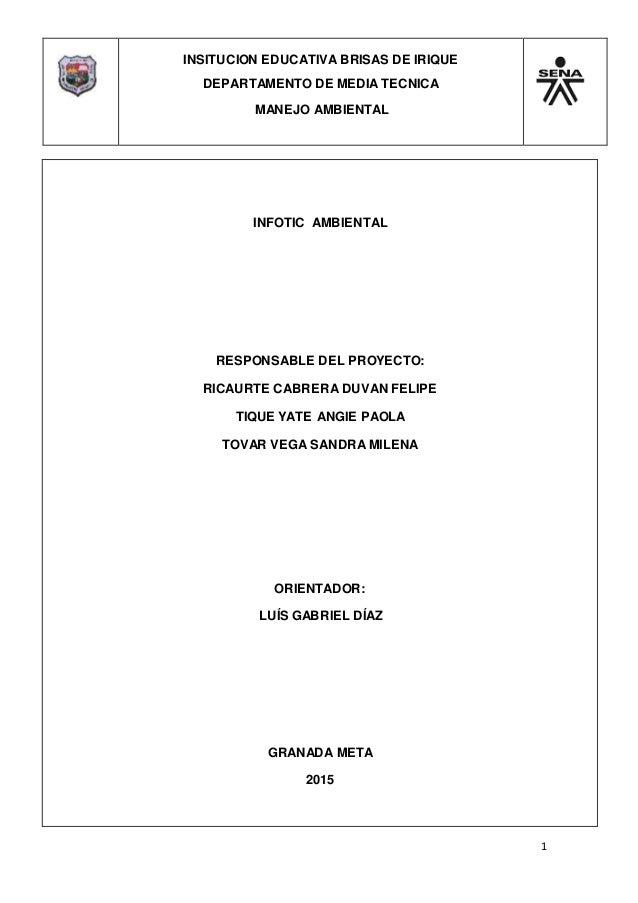 INSITUCION EDUCATIVA BRISAS DE IRIQUE DEPARTAMENTO DE MEDIA TECNICA MANEJO AMBIENTAL 1 INFOTIC AMBIENTAL RESPONSABLE DEL P...