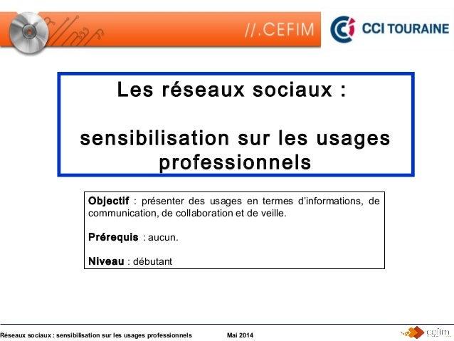 Réseaux sociaux : sensibilisation sur les usages professionnels Mai 2014 Les réseaux sociaux : sensibilisation sur les usa...