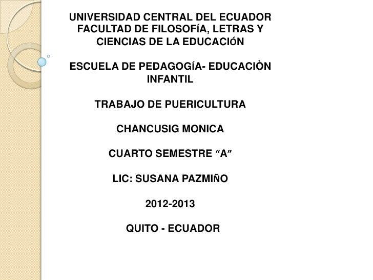 UNIVERSIDAD CENTRAL DEL ECUADOR FACULTAD DE FILOSOFÍA, LETRAS Y    CIENCIAS DE LA EDUCACIÓNESCUELA DE PEDAGOGÍA- EDUCACIÒN...