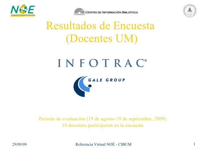 Resultados de Encuesta  (Docentes UM) Periodo de evaluación (19 de agosto-19 de septiembre, 2009) 18 docentes participaron...