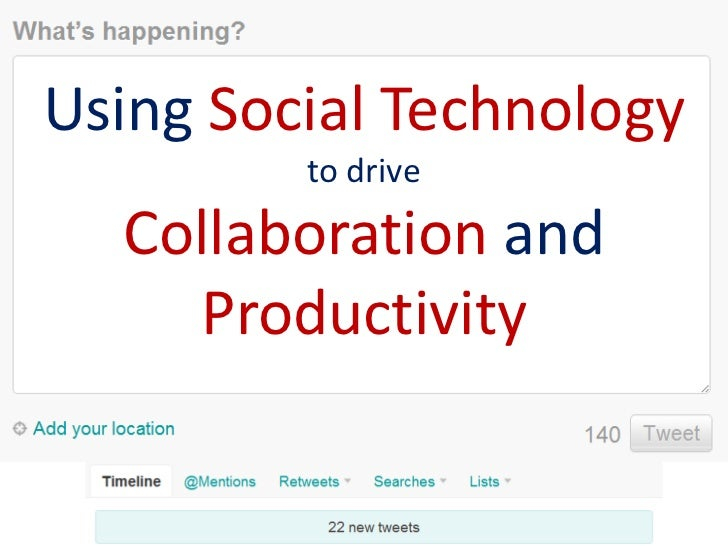 Using Social Technology         to drive  Collaboration and    Productivity