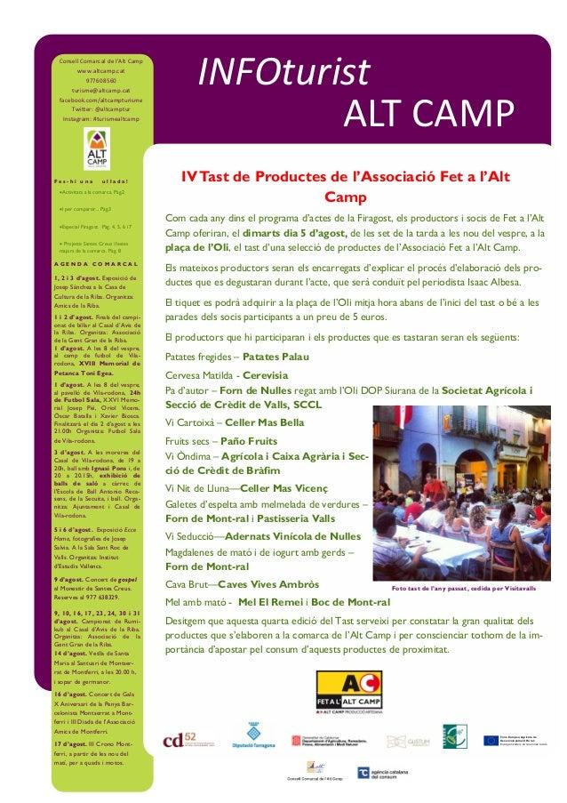 A G E N D A C O M A R C A L 1, 2 i 3 d'agost. Exposició de Josep Sánchez a la Casa de Cultura de la Riba. Organitza: Amics...