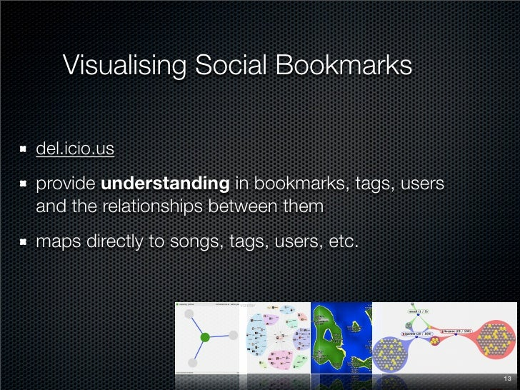 Visualising Social Bookmarks  del.icio.us provide understanding in bookmarks, tags, users and the relationships between th...